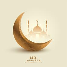 Eid Mubarak Moon And Mosque Beautiful Background