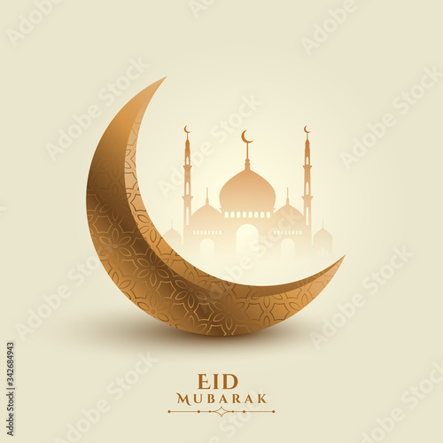 Carta da parati eid mubarak moon and mosque beautiful background
