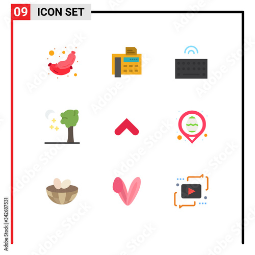User Interface Pack of 9 Basic Flat Colors of up, arrow, hardware, night, arbor Canvas Print