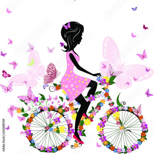 Fototapety, obrazy: vector illustration of a girl with flowers