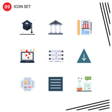 9 Universal Flat Color Signs Symbols Of Server, Love, School, Laptop, Chart