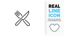 Editable Line Icon Of Crossed Cutlery, Part Of A Huge Set Of Editable Icons!