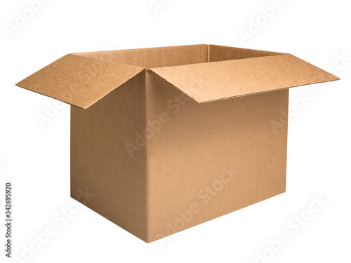 Vászonkép Open corrugated carton box isolated on white background