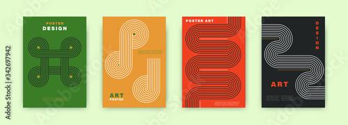Obraz Abstract modernism poster design. Vintage cover set swiss memphis style. Retro vector geometric art illustration for journal, books, flyers, magazines - fototapety do salonu