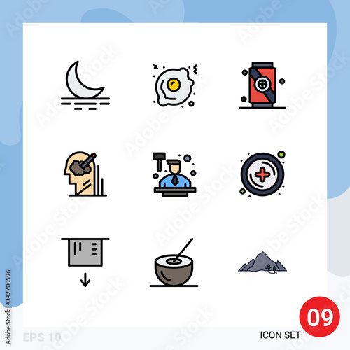 Set of 9 Modern UI Icons Symbols Signs for law, auctioneer, soft, auction, idea Canvas Print