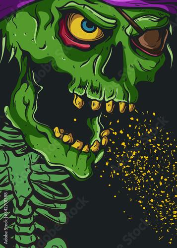 Valokuvatapetti teschio verde co corpo