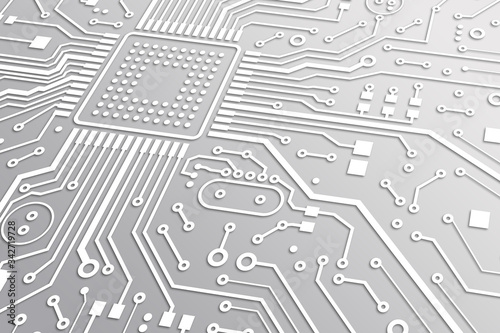 Obraz High tech. Macro illustration of circuit board with microchip and white lines - fototapety do salonu