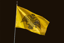 Byzantine Flag Isolated At Black Background