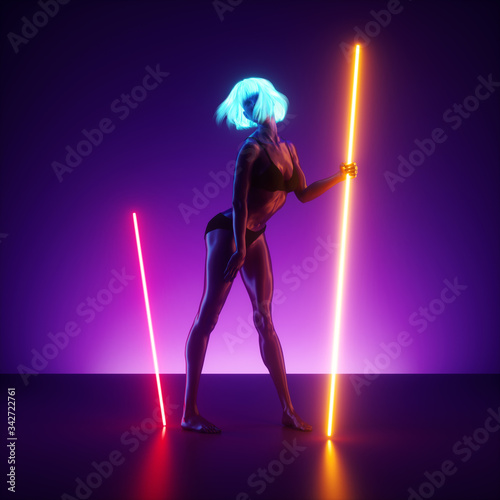 Vászonkép 3d render, virtual female model posing, standing on the stage holding neon light glowing lines