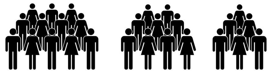 Simple crowd icon, group of people silhouettes standing in rows