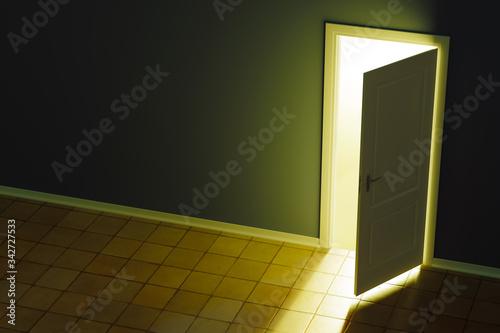 Photo ajar door and light through it into a dark room.