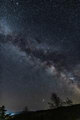Droga Mleczna, Milky Way , Gwiazdy, Farma Wiatrowa nocą, noc, gwieździsta noc, nów,