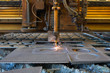 Plasma gas cutting machine, cuts into the metal surface of the workpiece for parts.