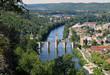 View of the Gothic Valentre Bridge (14th century) . City of Cahors. France.