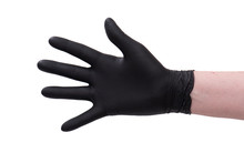 Hand In Black Latex Glove Isolated On White Background