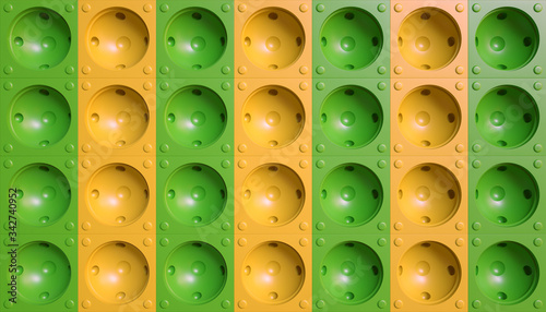 Valokuvatapetti Spherical dimpled background with green and yellow color