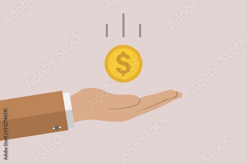 Photo saving money in vector with dollar flat sign symbols illustration