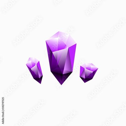 purple violet crystal hollow logo design inspiration . amethyst logo design  inspiration . 3d diamond logo design template . chunks of crystal icon  Stock Vector | Adobe Stock