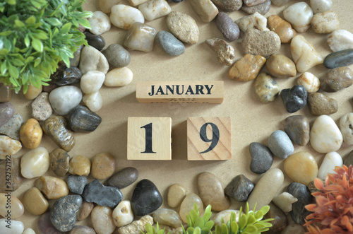 Vászonkép January Month, Appointment date with number cube design, colorful stone