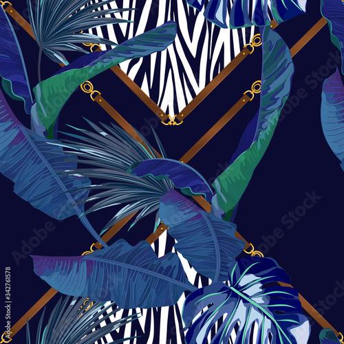 Fototapeta Abstract fashion seamless pattern with palm leaves, tiger elements. Animal print. Vector illustration obraz