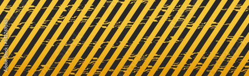 Photo Yellow and black police tape for warning of dangerous areas, caution tapes, warn