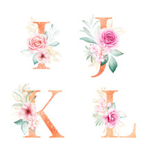 Watercolor Gold Floral Alphabe...
