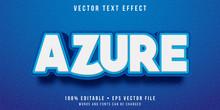 Editable Text Effect - Azure Blue Text Style