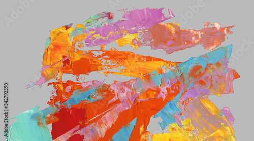 Fototapety, obrazy: Vibrant colors textures of oil paint isolated on gray as  background, wallpaper, pattern, art print, etc.  High quality details.