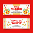 Beautiful vector illustration with design for Mexican holiday 5 may Cinco De Mayo. Vector template with traditional Mexican symbols, Mexican guitar, mustache, tequila, pepper, skull, Mexican maracas,