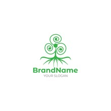 Triskele Tree Logo Design Vector
