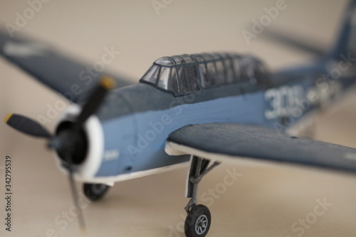 Macro view of a small-scale model of the WW2 Grumman TBF Avenger Wallpaper Mural
