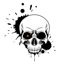 Skull With Red Glowing Eye, Sp...