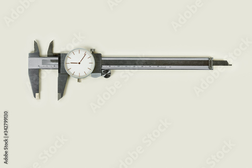Analogic caliper with the needle dial of a watch Canvas Print
