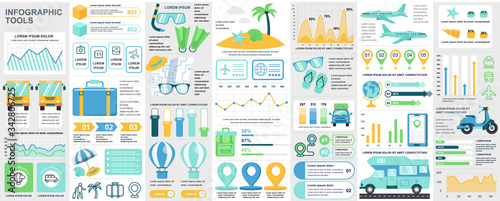 Photo Bundle travel infographic UI, UX, KIT elements with charts, diagrams, summer vacation, flowchart, travel timeline, journey icons elements design template