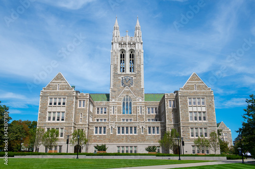 Gasson Hall with Collegiate Gothic style at the quad in Boston College Canvas Print