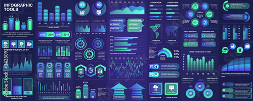 Canvas Print Bundle infographic UI, UX, KIT elements with charts, diagrams, workflow, flowchart, timeline, online statistics, marketing icons elements design template