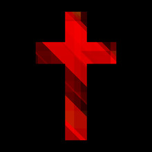Red Christian Cross Isolated On Black Background. Religious Symbol. Vector Illustration