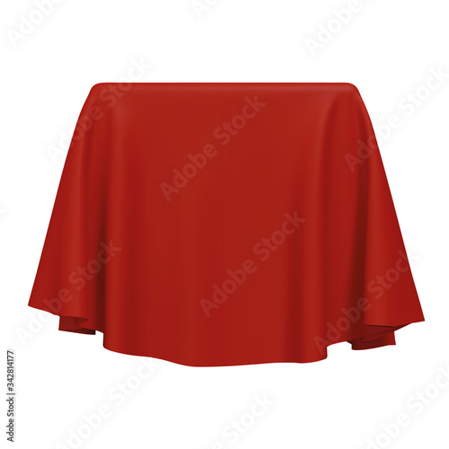 Fotografía Red fabric covering a blank template vector illustration