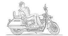 Girl On Motorcycle Adult Coloring Page. Stroke Without Fill. Classic Bike. Vector Illustration. High Speed Vehicle. Graphic Element. Black Contour Sketch Illustrate Isolated On White Background