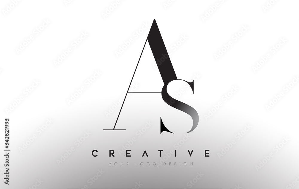 Fototapeta AS letter design logo logotype icon concept with serif font and classic elegant style look vector