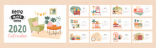 Home Sweet Home 2020 Calendar Template With Cover And Twelve Months Showing Assorted Interior Decor With Dates, Colored Vector Illustration