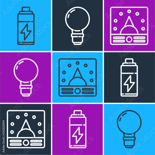 Set line Battery, Ampere meter, multimeter, voltmeter and Light bulb with concept of idea icon Canvas Print
