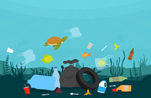 Ocean Plastic Pollution. Ecology Problem Of Marine Pollution. Vector Illustration.