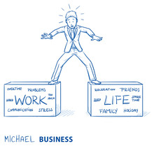 Business Man Standing On Two Boxes, Striking A Balance Between Work And Life. Hand Drawn Line Art Cartoon Vector Illustration.