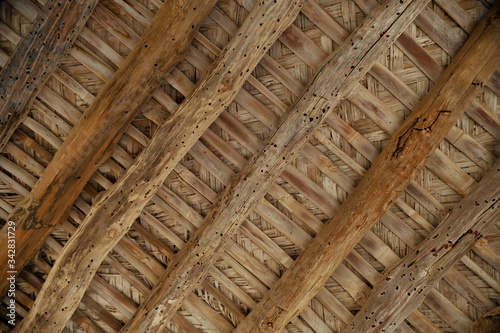 Old wood Roof,Ruined ancient old Arab pearling and fishing village The desert at coast of Persian Gulf Canvas Print