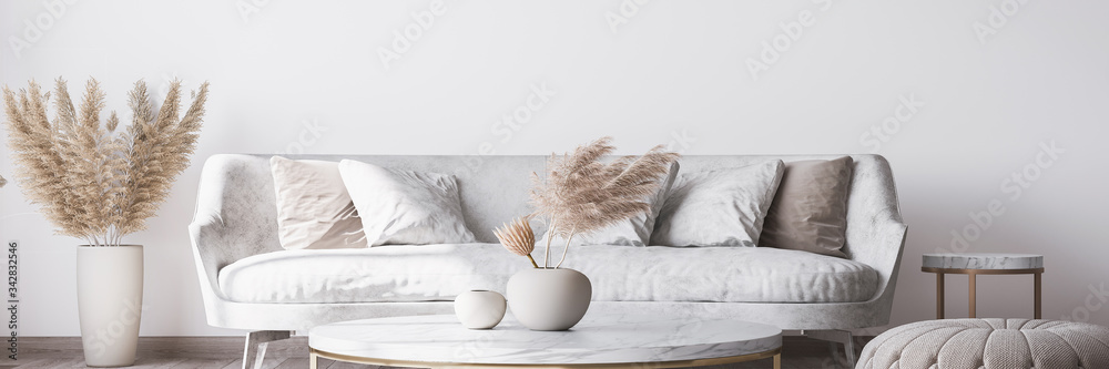 Fototapeta Stylish white modern living room interior, home decor