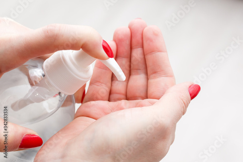 Photo anti bacterial agent bottle for hand washing
