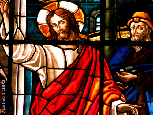 church, glass, window, stained, stained glass, religion, christ, religious, cath Canvas Print
