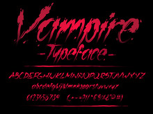 Vampire Font. Blood Letters. Halloween Vector Alphabet With Numbers And Glyphs.