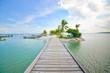 tropical beach with wooden bridge